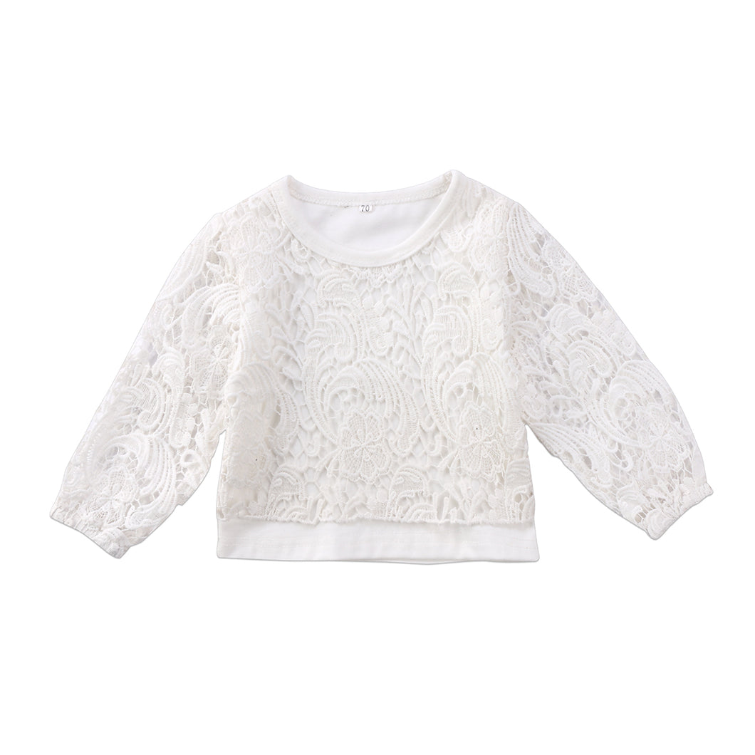 LACY Hollow Lace Long Sleeve Pullover (1-5T)