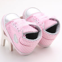 VINCI Polka Dot Love Lace Up Crib Shoes Pink -  Shoes - The Tot Drawer