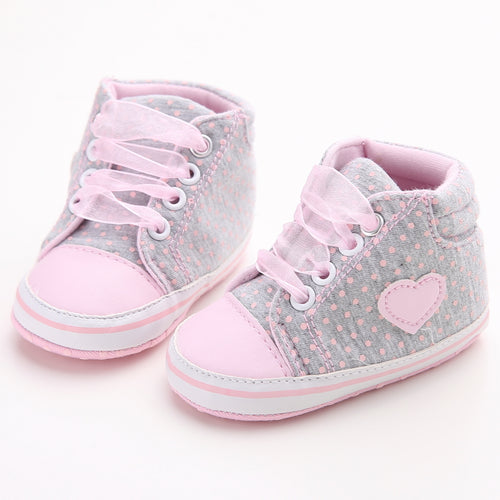 VINCI Polka Dot Love Lace Up Crib Shoes Gray -  Shoes - The Tot Drawer