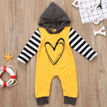 """Love Has No Limits"" Heart Print Hooded Long Sleeve Romper (0-24M) -  Romper - The Tot Drawer"