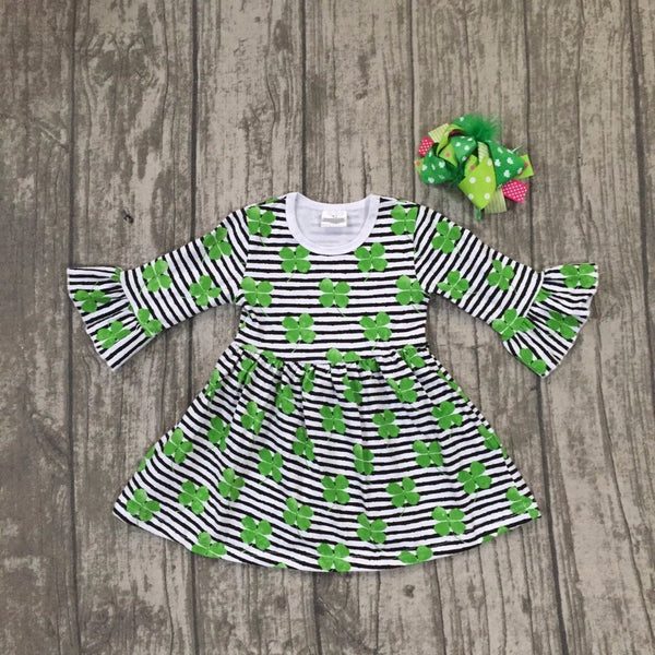 PATTY Striped Shamrocks Dress with Matching Bow (1-8Y) -  Dress - The Tot Drawer