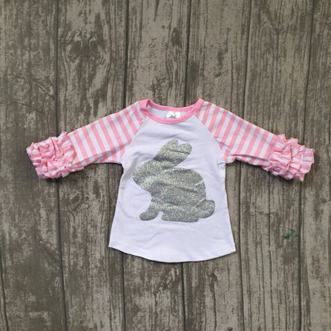 BRANDI Bunny Ruffles Sleeve Raglan Pullover (2-7T) -  top - The Tot Drawer