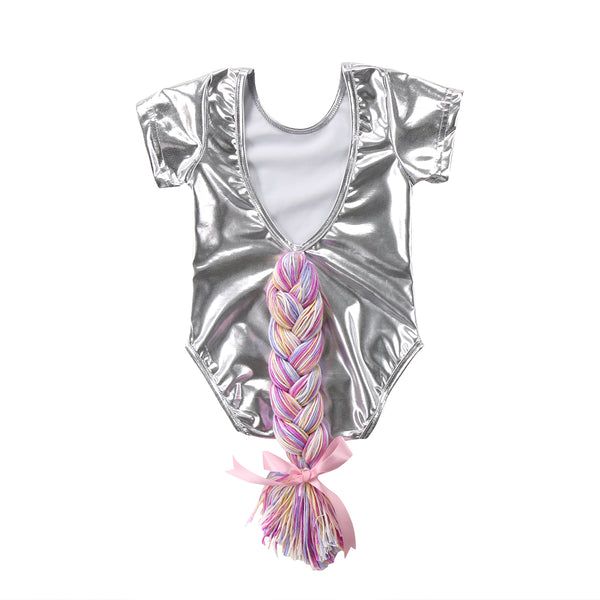 Unicorn Horsetail Bodysuit Silver (0-24M) -  Romper - The Tot Drawer
