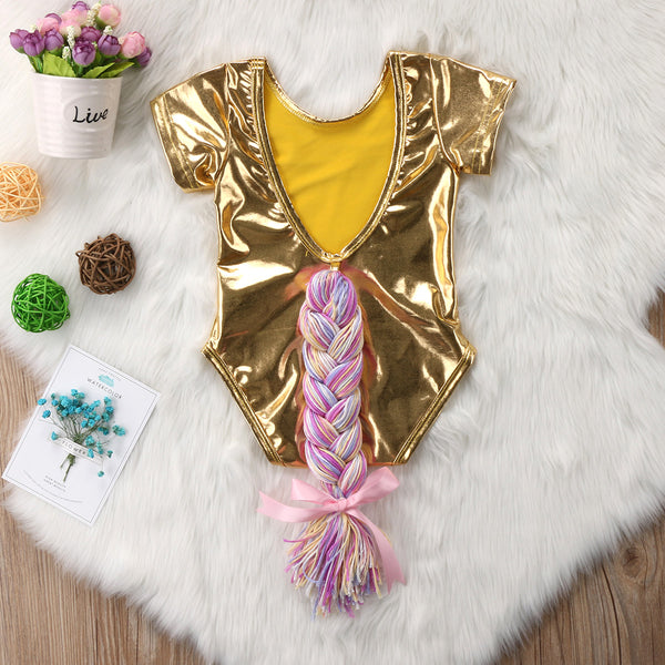 Unicorn Horsetail Bodysuit Gold (0-24M) -  Romper - The Tot Drawer