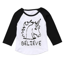 "Unicorn ""BELIEVE"" Long Sleeve Raglan T-shirt (2-6T) -  top - The Tot Drawer"