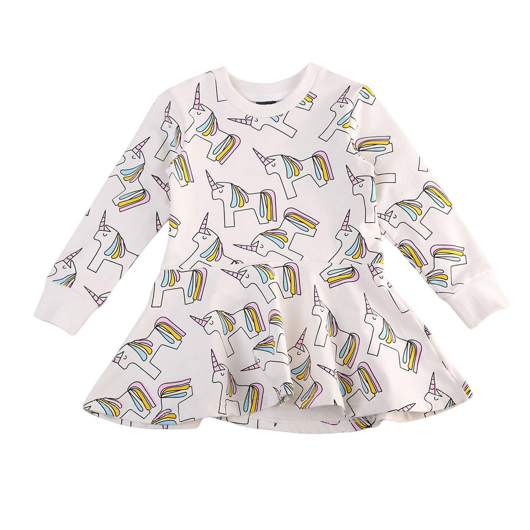 Unicorn Long Sleeves Ruffle Hem Dress (1-7Y)