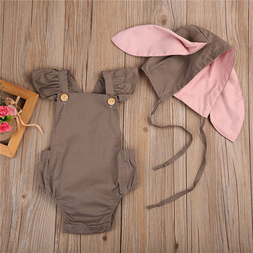 RAINE Romper and 3D Rabbit Ears Hat Set Brown (0-24M)