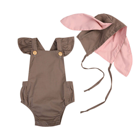 RAINE Romper and 3D Rabbit Ears Hat Set Beige (0-24M)