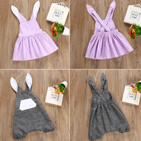 REESE Rabbit Gray Romper (1-4T) -  Romper - The Tot Drawer