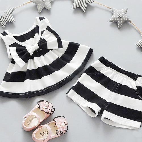 NICOLE Stripes Bow Top and Shorts Set in Black -  Sets - The Tot Drawer