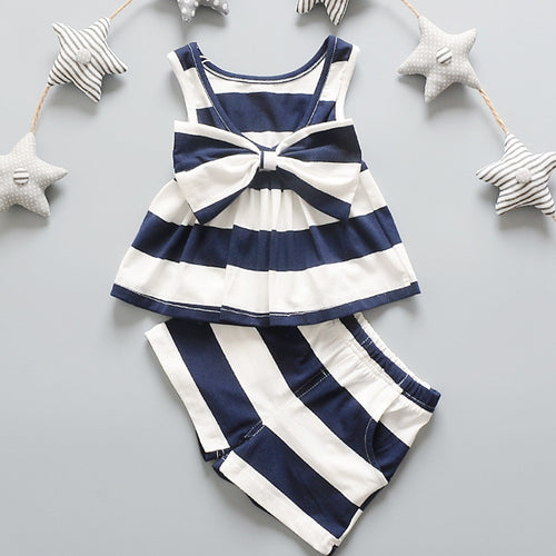 NICOLE Stripes Bow Top and Shorts Set in Blue -  Sets - The Tot Drawer