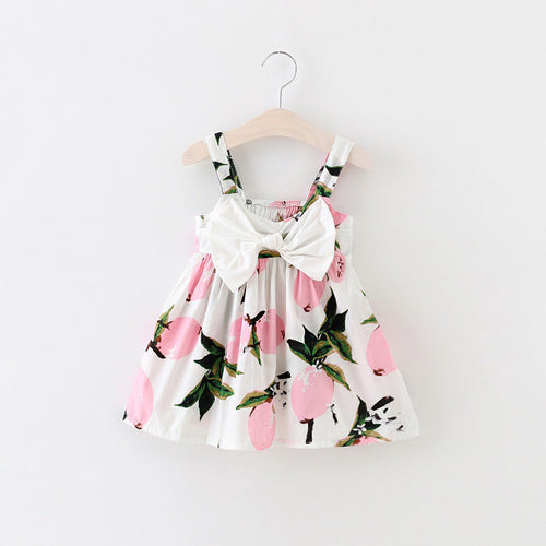 EMMA Lemon Print Bow-Knot Sundress Pink -  Dress - The Tot Drawer