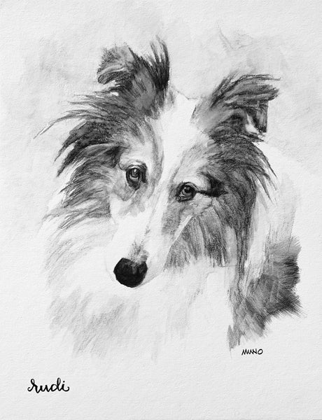 BLACK & WHITE WATERCOLOR PET PORTRAIT 11x14 WOOD CRADLE