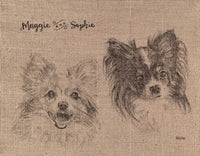 STRETCHED BURLAP CANVAS (TWO PETS) - 16x20