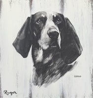 BLACK & WHITE WATERCOLOR PET PORTRAIT 10x12 WOOD PLANKS