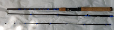 Three-piece Travel Casting Rod, customized with blue and silver patternwork