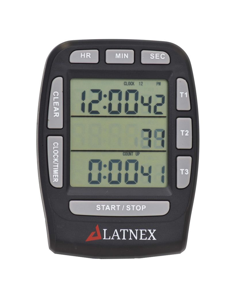 Black Digital LCD 3 Channel Timer - Front View
