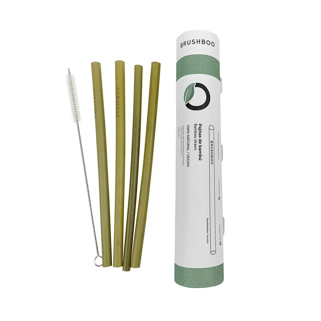 Pack of 4 Bamboo Straws Brushboo