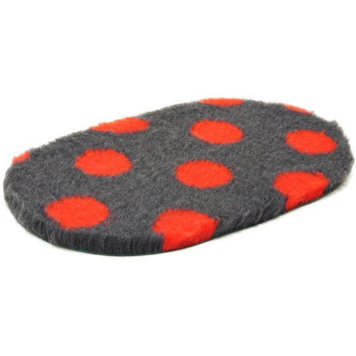 Oval Vetbed Original Charcoal With Red Polka Dot