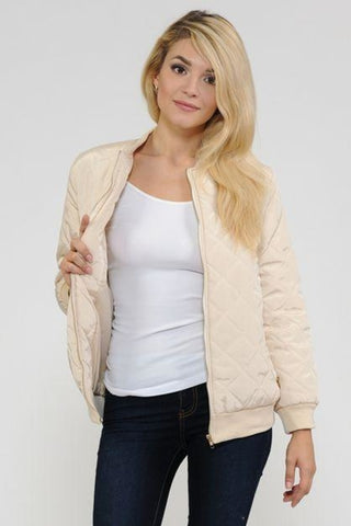 Women's Quilted Zip Up Bomber Jacket - MikeAndNikes™- We Just Did It - Cream of The Crop®