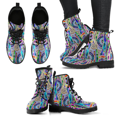 Handcrafted Paisley Mandala Boots - MikeAndNikes™- We Just Did It - Cream of The Crop®