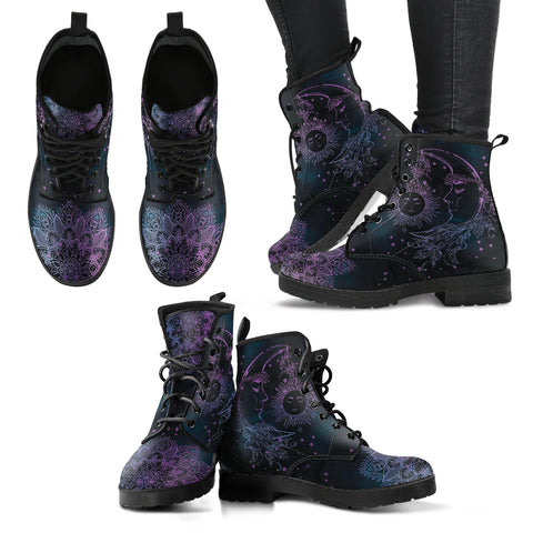 Purple Sun Moon Handcrafted Boots - MikeAndNikes™- We Just Did It - Cream of The Crop®