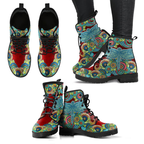 HandCrafted Dragonfly Mandala 2 Boots - MikeAndNikes™- We Just Did It - Cream of The Crop®