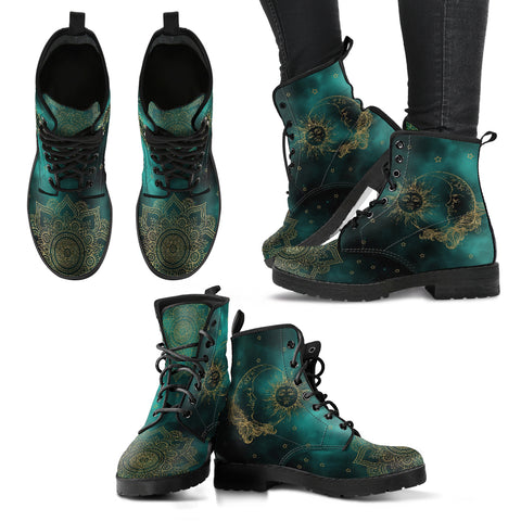 HandCrafted Green Sun and Moon Boots. - MikeAndNikes™- We Just Did It - Cream of The Crop®