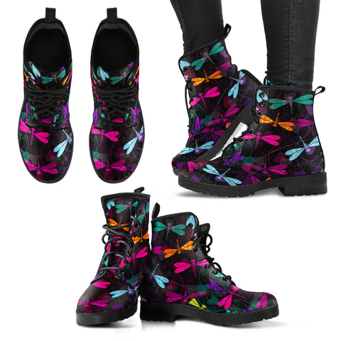 Handcrafted Dragonfly Pattern Boots - MikeAndNikes™- We Just Did It - Cream of The Crop®
