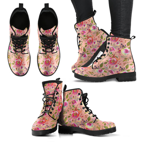 Floral Watercolour Roses Peonies (Apricot) - Leather Boots for Women - MikeAndNikes™- We Just Did It - Cream of The Crop®