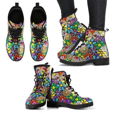 Handcrafted Colorful Flower Boho Boots - MikeAndNikes™- We Just Did It - Cream of The Crop®