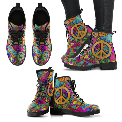HandCrafted Hippie Peace Boots - MikeAndNikes™- We Just Did It - Cream of The Crop®