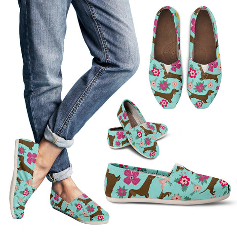 Dachshund Flower Women's Casual Shoes - MikeAndNikes™- We Just Did It - Cream of The Crop®