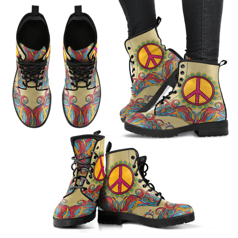 Handcrafted Hippie Peace 2 Boots - MikeAndNikes™- We Just Did It - Cream of The Crop®
