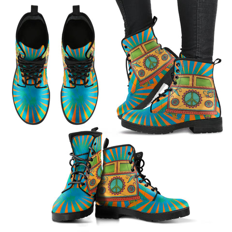 HandCrafted Hippie Bus Boots - MikeAndNikes™- We Just Did It - Cream of The Crop®