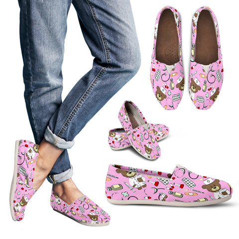 Nurse Bear Bubble Gum Women's Casual Shoes - MikeAndNikes™- We Just Did It - Cream of The Crop®