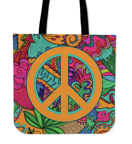 Hippie Peace Tote Bag - MikeAndNikes™- We Just Did It - Cream of The Crop®