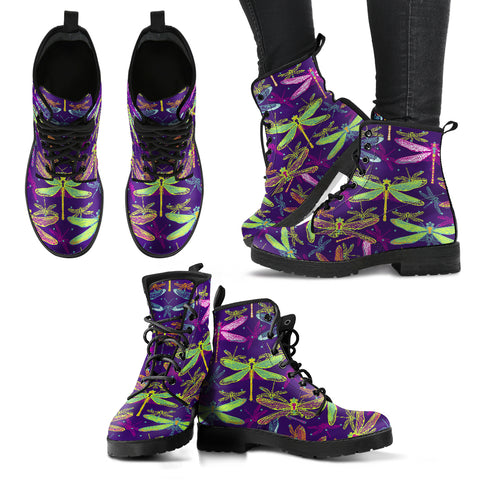 Handcrafted Dragonfly Pattern 4 Boots - MikeAndNikes™- We Just Did It - Cream of The Crop®
