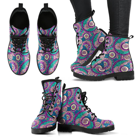 Handcrafted Purple Ring Fractal Mandala Boots - MikeAndNikes™- We Just Did It - Cream of The Crop®
