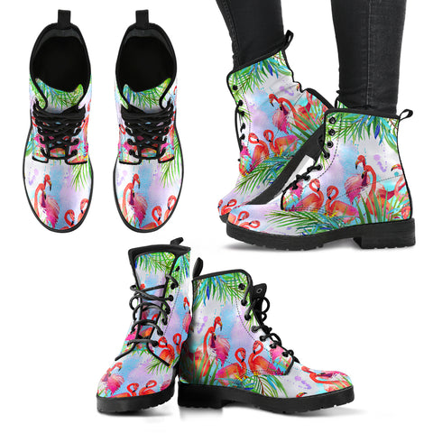 Handcrafted Tropical Flamingo Boots - MikeAndNikes™- We Just Did It - Cream of The Crop®
