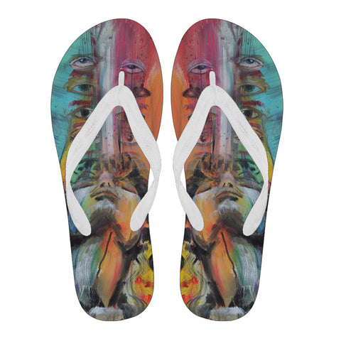 Inside My Spirituality - Women's Flip Flops White - MikeAndNikes™- We Just Did It - Cream of The Crop®