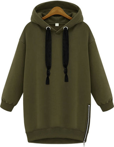 Green Hooded Long Sleeve Zipper Loose Sweatshirt - MikeAndNikes™- We Just Did It - Cream of The Crop®