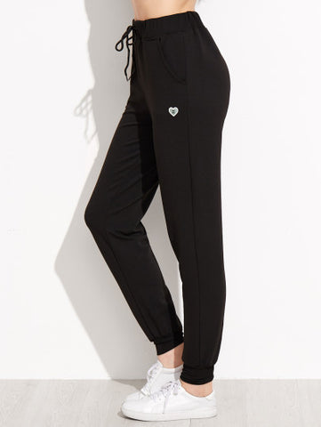 Black Heart Print Drawstring Waist Peg Pants - MikeAndNikes™- We Just Did It - Cream of The Crop®