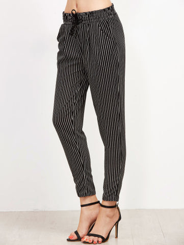 Black Vertical Striped Drawstring Pants - MikeAndNikes™- We Just Did It - Cream of The Crop®