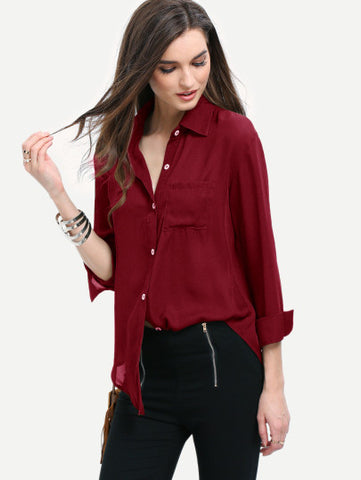 Burgundy Curved Hem Pocket Shirt - MikeAndNikes™- We Just Did It - Cream of The Crop®