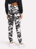 Camo Print Ring Detail Belted Pants - MikeAndNikes™- We Just Did It - Cream of The Crop®