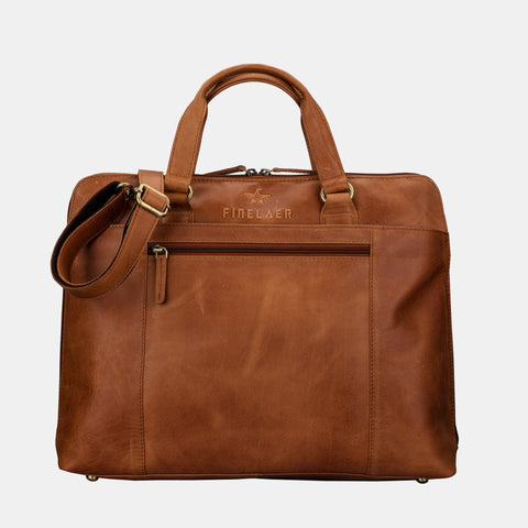 Finelaer Women Brown Leather Slim Laptop Briefcase - MikeAndNikes™- We Just Did It - Cream of The Crop®
