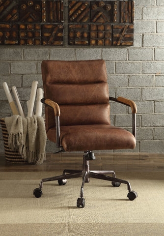 Metal & Leather Executive Office Chair, Retro - MikeAndNikes™- We Just Did It - Cream of The Crop®