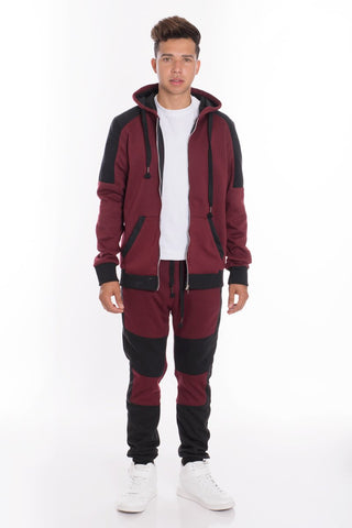 CASUAL SWEAT SET- BURGUNDY - MikeAndNikes™- We Just Did It - Cream of The Crop®