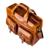 Finelaer Men Brown Leather Laptop Front Pocket - MikeAndNikes™- We Just Did It - Cream of The Crop®
